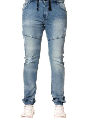 iDenim Men's Designer Acid Blue  Elasticated Waist hem Jeans
